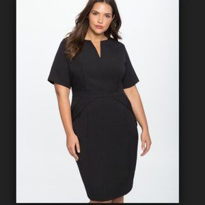Eloquii Women's Black Career Work Sheath Dress 28
